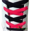 Dual colored black and hot pink shoelaces close-up-110x110